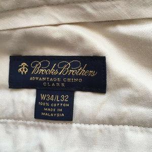 Brooks Brothers Chino Pants Khaki Flat Front Sz 34